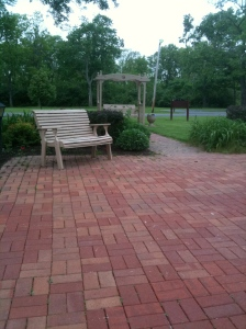 Quiet bench on a patio