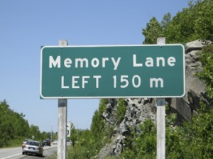 road sign for memory lane