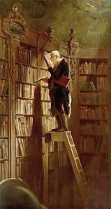 Painting called the Bookworm by Carl Spitzweg in 1850