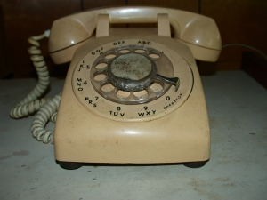 old telephone with a dial